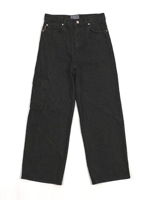 Wide pocket denim pants (bk)
