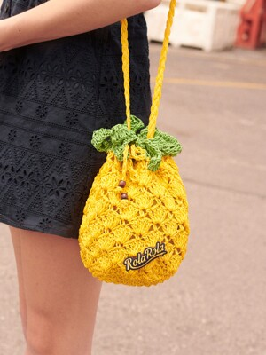 (BG-19317) PINEAPPLE BUCKET BAG YELLOW