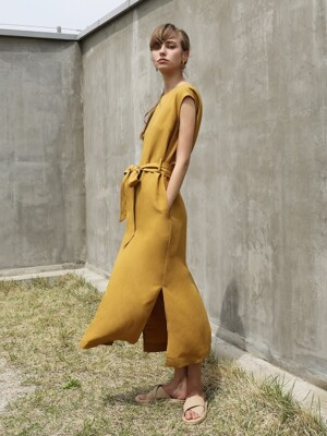 Linen Belted One-piece_Mustard