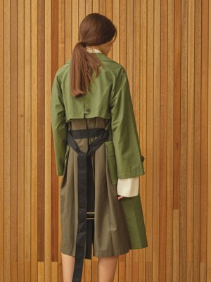 color block trench coat Khaki