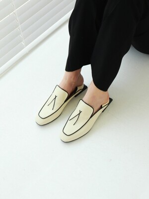 T102 lace loafer ivory (2-way) 2.5cm
