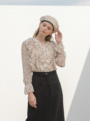 V Neck Flower Ruffle Blouse