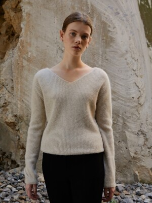 Raccoon Blend V-Rib Knit_Oatmeal