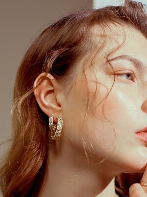 [리퍼브상품] Layered twist hoop Earrings