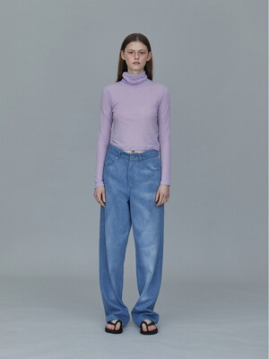 TS93TW06 WOOL SILK CROP TOP - LAVENDER