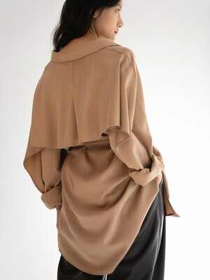 BACK FLAP SHIRT DRESS [CAMEL BEIGE]