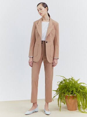 [Classy Cotton] One-Button Blazer + Straight Trousers SET
