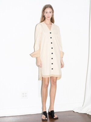 [20SS]ECHO PARK v neck button down shirt dress (Light beige & Beige)
