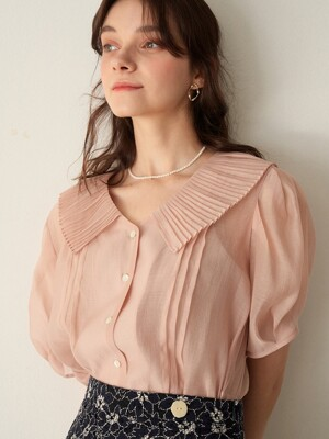 monts 1114 pleats collar sheer blouse (salmon pink)