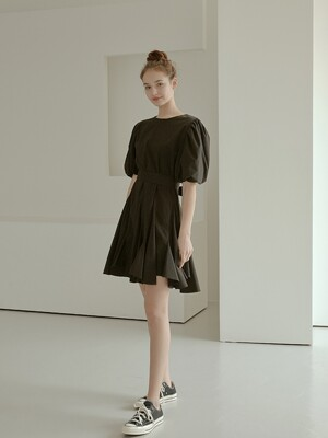 adorable pleats dress[black]
