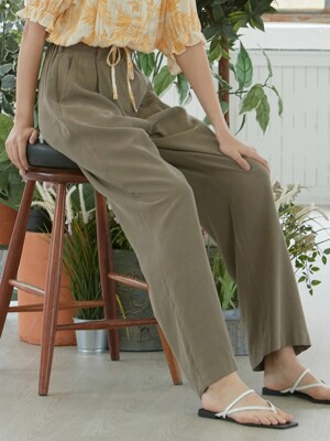 iuw773 banding long slacks (brown)
