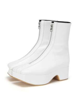 Squared toe zip front ankle boots | White
