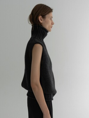 Oval Structure Knit Vest (charcoal)