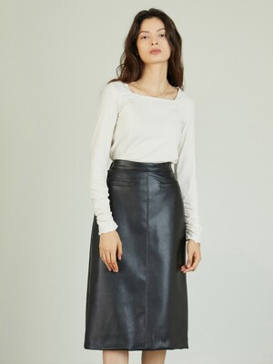 AE_Leather Pocket Skirt_BK