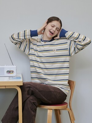 SIGNATURE STRIPE LS T-SHIRT [PINK]