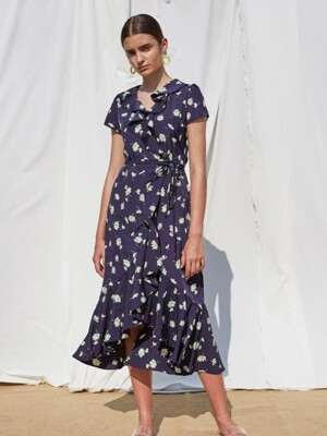 ELIKA WRAP DRESS - NAVY