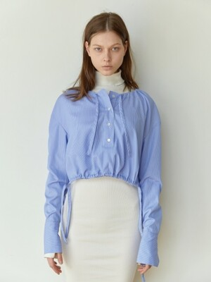 18FW DRAWSTRING-HEM CROPPED SHIRT (SKYBLUE STRIPE)