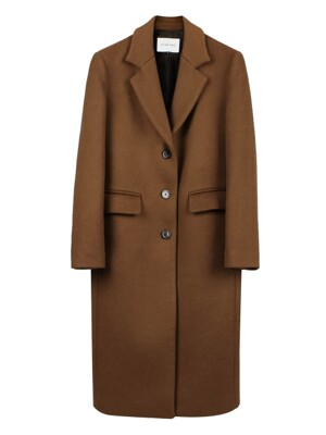 Wool Blend Chesterfield Single Brown Coat