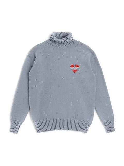 NOMANTIC W-LOGO WOOL TURTLE-NECK KNIT BLUE