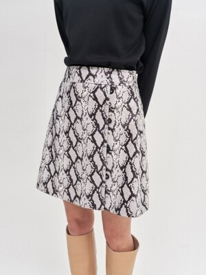 snake pattern skirt_snake white