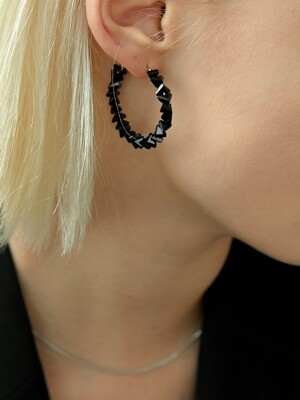 Black Crystal Ring Earring