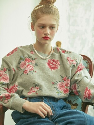 Floral Printed Sweatshirt with Shoulder pad (Gray)