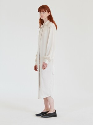 SATIN LONG SHIRTS DRESS WOMEN [IVORY]