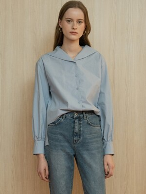 comos'240 sailor wing collar blouse (skyblue)