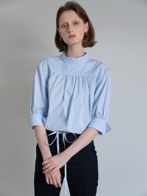 19FW DRAW-STRING COTTON BLOUSE (SKYBLUE)