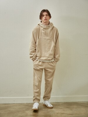 Fleece Over Size String Hoodie Set Up_Beige