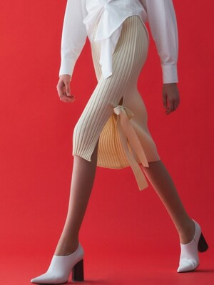 KNIT SLIT RIBBON SKIRT_IVORY