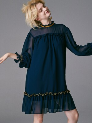SMOKING SLEEVES COLOR POINT MINI DRESS_NAVY
