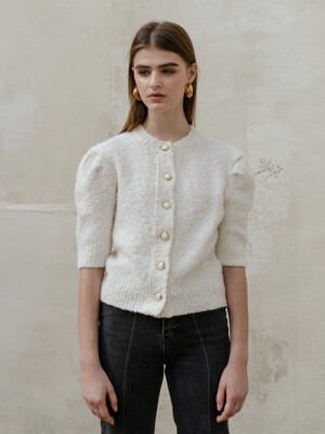 Wool puff half sleeve cardigan [iv]