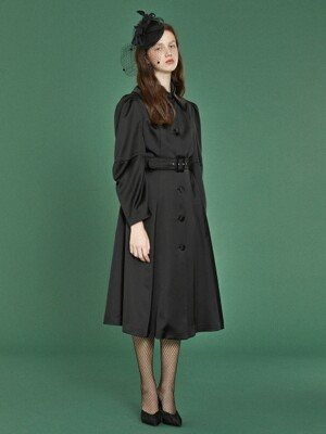 Elbow Shirring Coat Dress _ Black