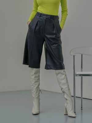 Faux Leather Bermuda Pants