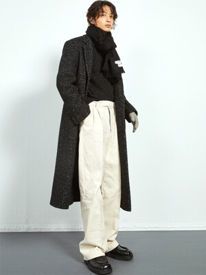 BLACK tweed long singlecoat(KJ014)