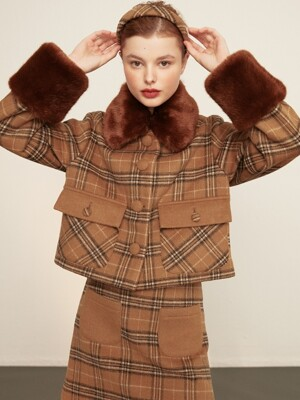 check fur jacket_brown