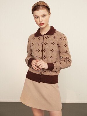 [단독] Round collar knit cardigan_brown