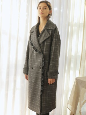 FRILL DOUBLE COAT_CHECK