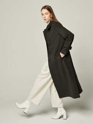 체크 코트 19WN CHECK DOULE LONG COAT Dark Gray