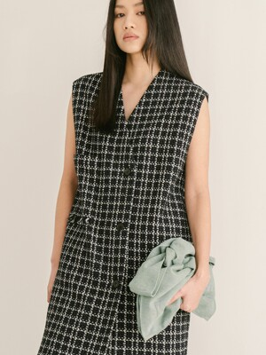 DARK NAVY CHECK PATTERN TWEED VEST
