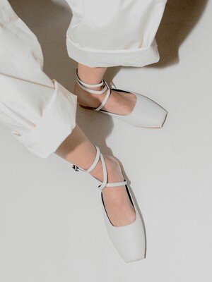 Ballet Toe Ankle Strap Flats | White