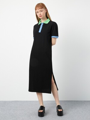 R SLIT POINT PIQUE DRESS