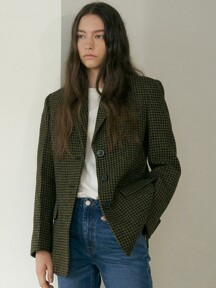 wool check jacket (khaki)