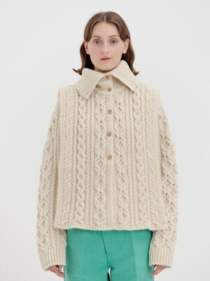 QUELLO Cable-knit Buttoned Warmer - Ivory