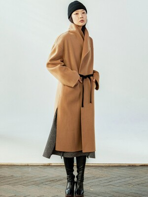 Big Collar Cashmere Bland Long Camel Coat