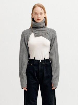 CASHMERE TURTLE NECK WARMER - GREY