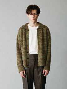 For men, Alpaca blend Collar Cardigan / Forest Brown