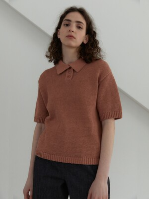 21S LAYER COLLAR HALF KNIT (BRICK)
