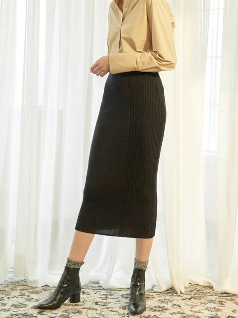 Combi Knit Skirt_BK